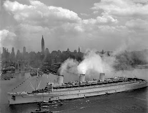 Photo: The famous British liner, QUEEN MARY, arrives in New York Harbor, June 20, 1945, with thousands of U.S. troops from European battles.  (Navy)NARA FILE #:  080-GK-5645WAR & CONFLICT BOOK #:  1367