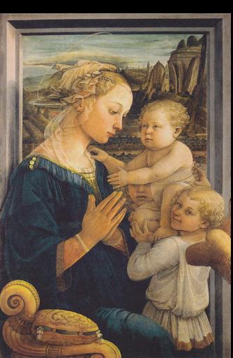 Fra Filippo Lippi, Madone à l'Enfant avec deux anges, v.1445, détrempe sur bois, 95×62 cm, Florence, Galerie des Offices