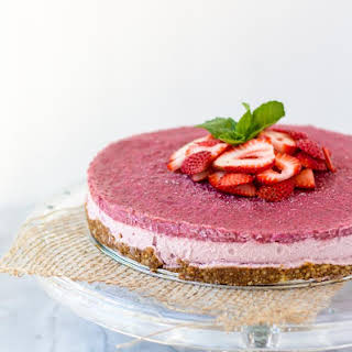 Strawberry Rhubarb Ginger Cheesecake.