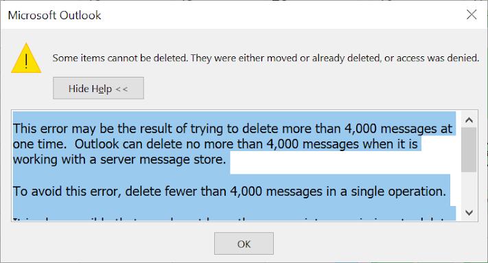 Outlook deletion error
