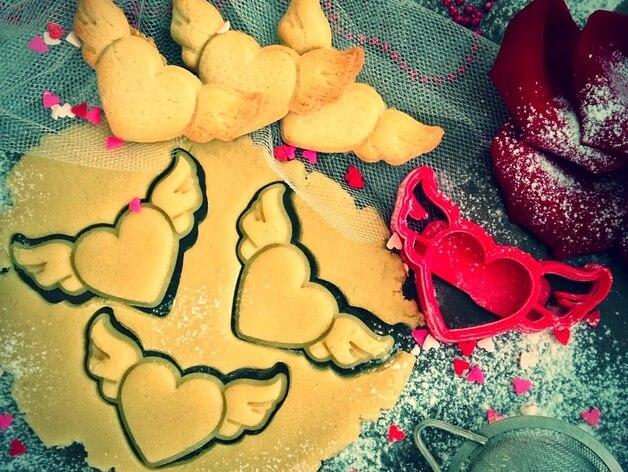 3D модель сердца с крыльями, формочка для печенья