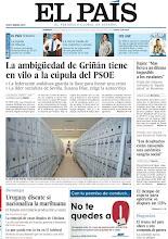 """Photo: La ambigüedad de Griñán tiene en vilo a la cúpula del PSOE, Rajoy: """"Mas lleva a un dilema imposible a los catalanes"""", el tiempo de espera para operarse se dispara un 125%, Uruguay discute si legaliza la marihuana y el drama del paro aboca a una economía de guerra, entre los titularesde nuestra portada del domingo, 28 de octubre de 2012. http://srv00.epimg.net/pdf/elpais/1aPagina/2012/10/ep-20121028.pdf"""