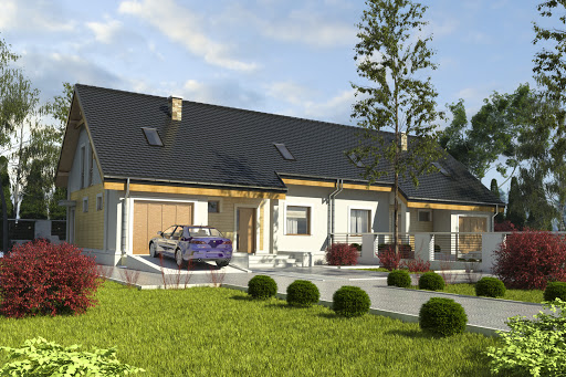 projekt Alka II z garażem 1-st. bliźniak A-BL2