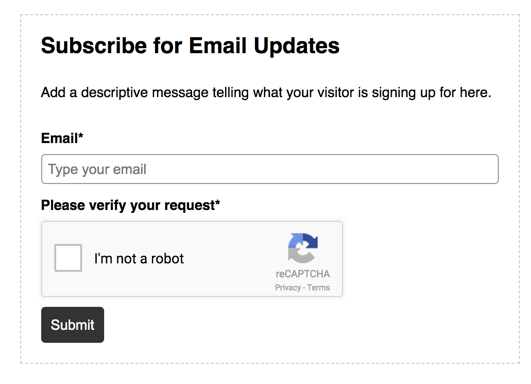 ActiveCampaign form with CAPTCHA enabled.