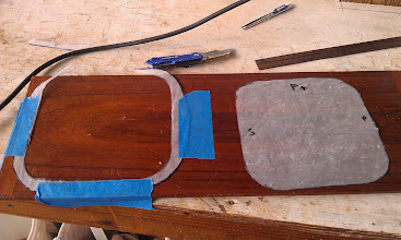 Photo: transfering the ID dimensions to a piece of teak.