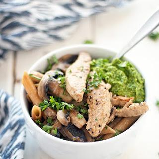 Sauteed Mushroom With Kale Pesto Pasta