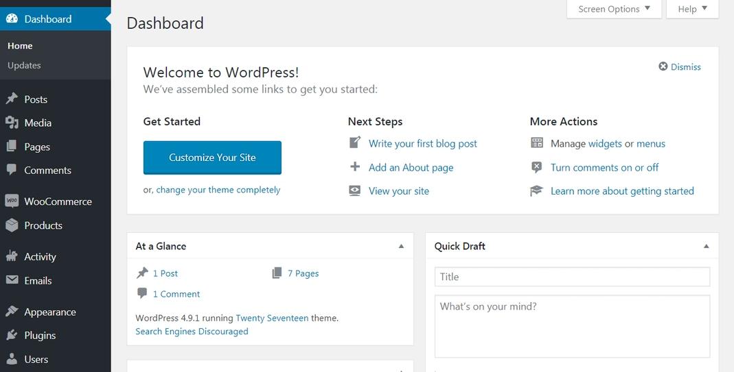 WordPress Administrator settings