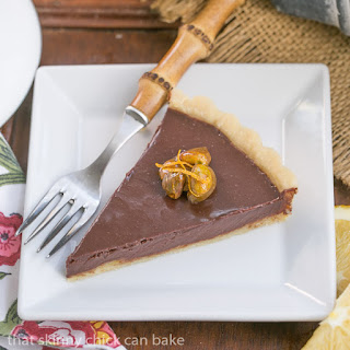 Semisweet Chocolate Tart with Candied Pistachios #BloggerCLUE