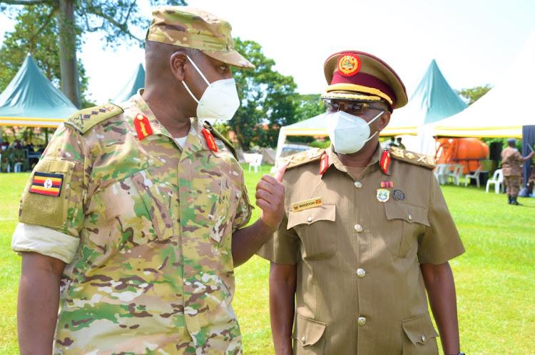 Speaking to a Ugandan officer