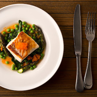 Seared Fish with Spring Vegetables.