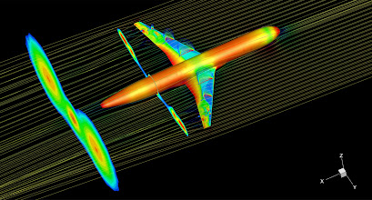 Photo: 25. Transonic shock buffet on large transport aircraft.  Dr Fulvio Sartor, University of Liverpool School of Engineering.  Transonic flow field around a wing-body configuration representative of a large transport aircraft at flight conditions. The image is a snapshot of an unsteady computational fluid dynamics simulation run on ARCHER. The aircraft surface is coloured by the air pressure. The slices on the wings indicate the velocity field in the supersonic zone of the flow. The slices in the wake represent the turbulent air generated by the separated flow due to the shock wave interacting with the boundary layer. Streamlines coloured by the velocity magnitude give an idea of the flow direction around the aircraft.