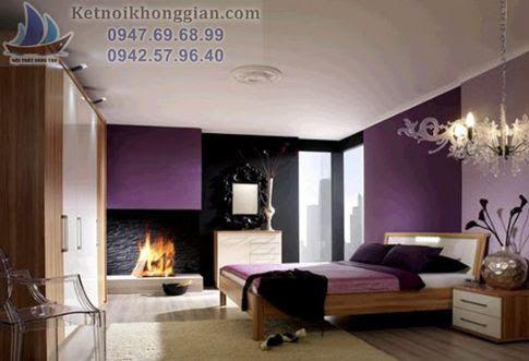 thiết kế phòng ngủ với màu tím pha xám