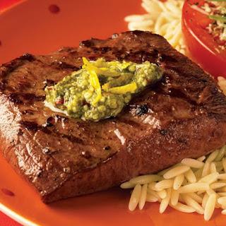Spicy Lemon Pesto Flat Iron Steaks.