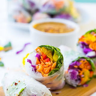 Fresh Spring Rolls with Peanut Ginger Sauce.