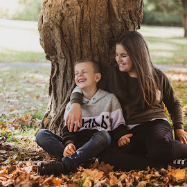 Laughter by Vix Paine - Babies & Children Child Portraits ( girl, trees, sun, boy, goldenhour, leaves, haze, candid, sunset, leaves haze, brother, sister, laughter, laugh, child, laughing )