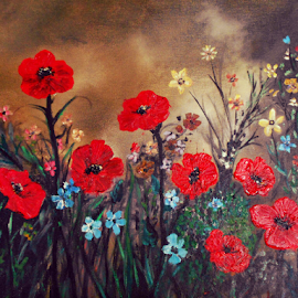 Poppy Field by Rhonda Lee - Painting All Painting ( field, poo ainting, red, poppies, poppy, flowers, floral,  )
