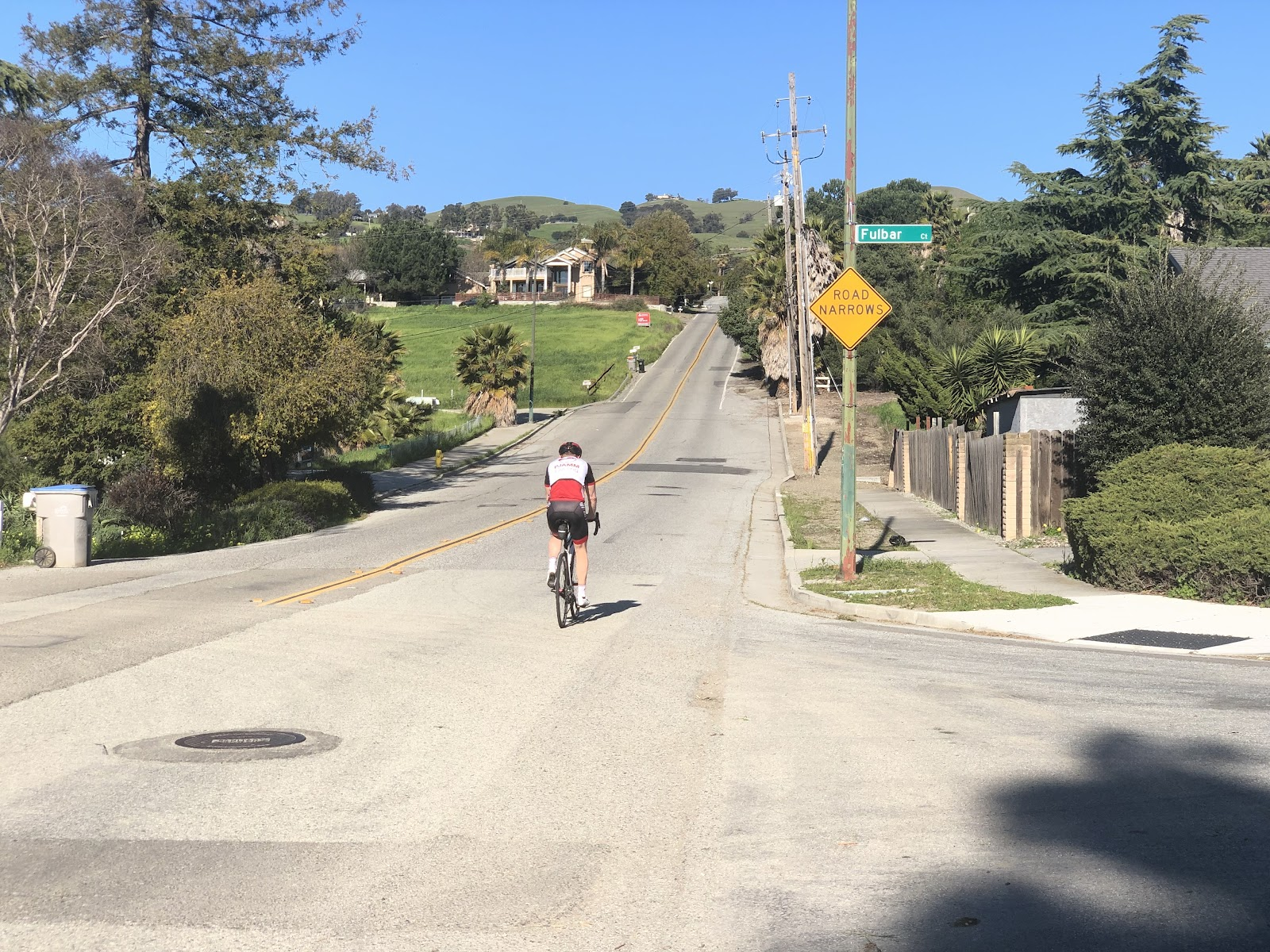 Riding bike up Sierra Road  - view of start and road - PJAMM Cycling cyclist on bike