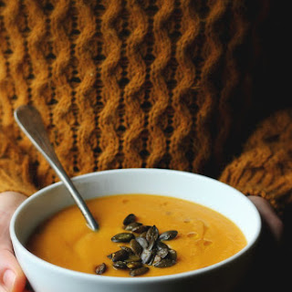 Roasted Parsnip, Carrot + Apple Soup with Gingery Toasted Pepitas