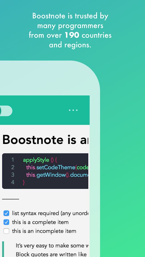 Boostnote - note taking app for programmers -- screenshot