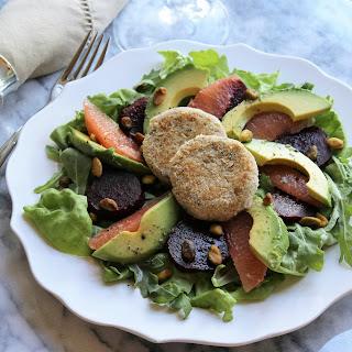 Beet, Grapefruit & Avocado Salad with Herbed White Bean Medallions and Grapefruit Vinaigrette