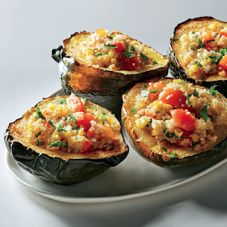 Stuffed Winter Squash with Quinoa, Corn, and Tomatoes.