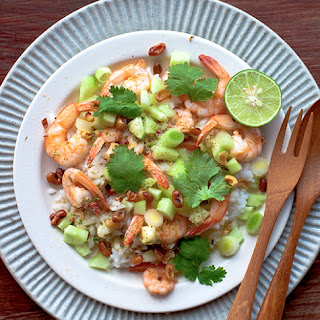 PRAWN, LIME, CILANTRO, AND COCONUT RICE SALAD.