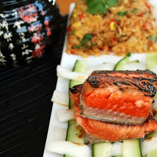 Wasabi Soy Salmon with Pineapple Fried Rice & Pickled Daikon