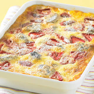 Chocolate Bread Pudding with Strawberries.