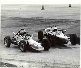 Photo: 1973 ; photo by Mark Yeager; Weldon Nash in Scrambler No. 38 (Car #3 with body of original car #1) and Bob Cupito in No. 74;  Nash and Cupito battling for position at Turn 1 at Green Valley Raceway, Smithville, TX; Green Valley was the home of the Green Valley Racing Association (GVRA) which held 9 races a year from 1972 until about 1976.