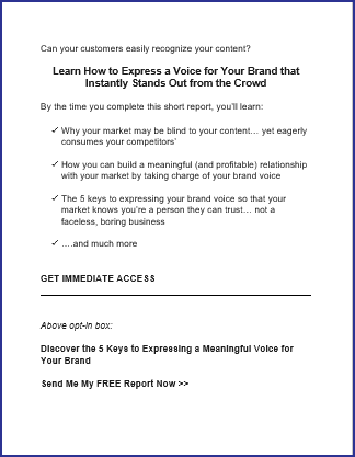 Expressing Your Brand Voice - Bonus Opt In Page Copy