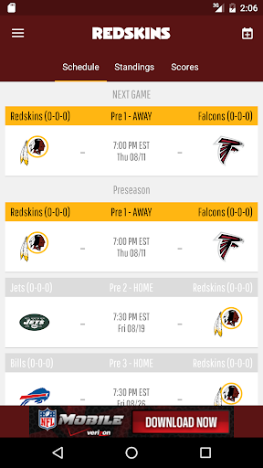 Washington Redskins screenshot