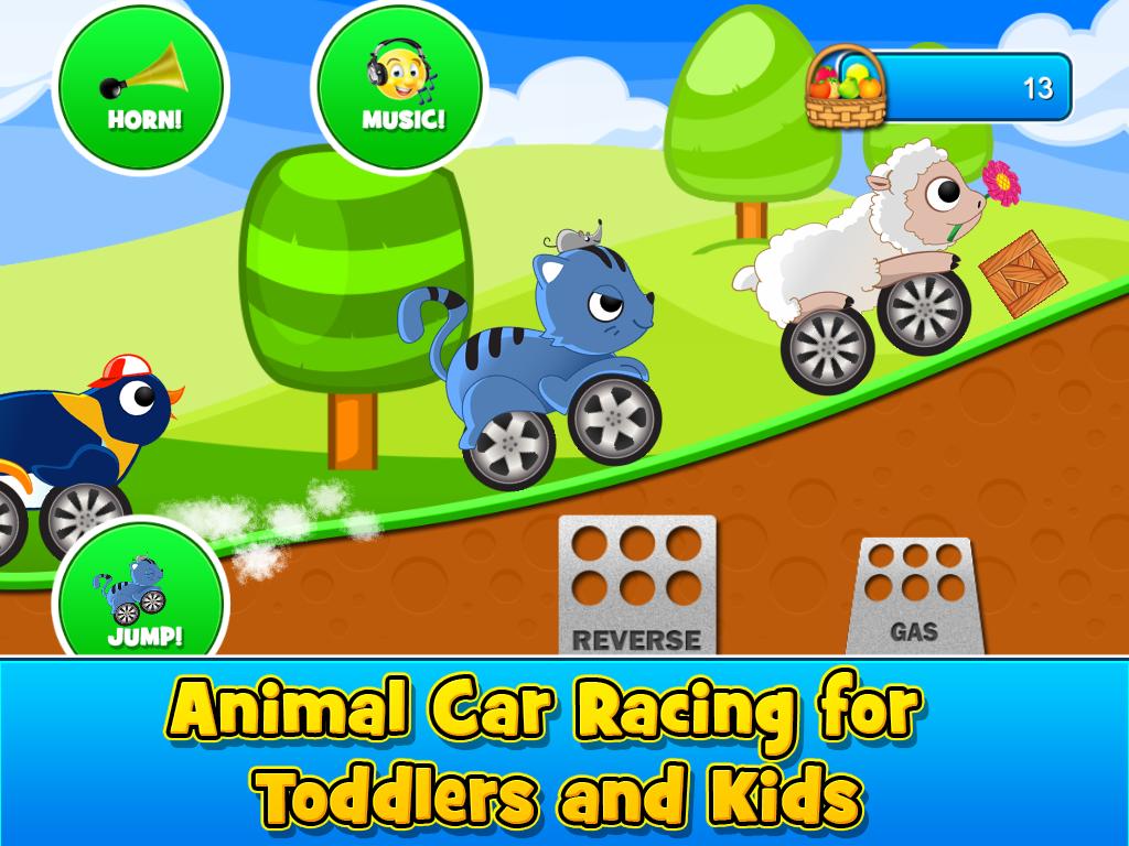 animal cars kids racing game screenshot