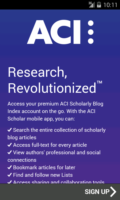 ACI Scholarly Blog Index- screenshot