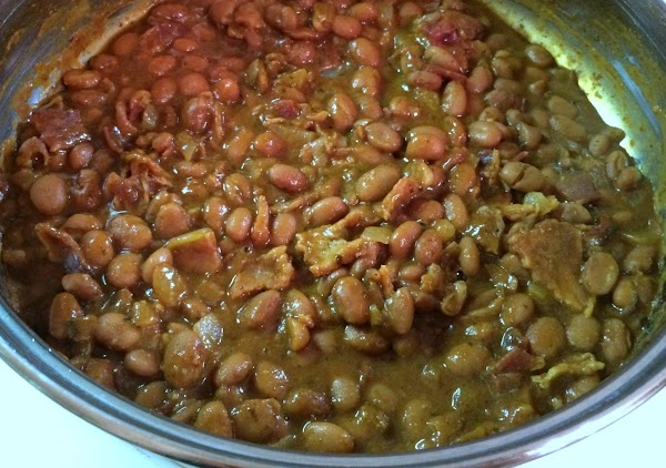 Cook up your pinto beans w/bacon, onion and seasonings. I'll get back here and...