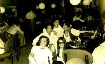 Photo: Cognacs & bow-tie stylin' with Tony Kung, Eddie Lau, Paulona Chai and June Noot @ The Scene, Peninsula Hotel, Hong Kong 1976.