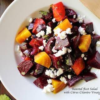 Roasted Beet Salad with Citrus Cilantro Vinaigrette.