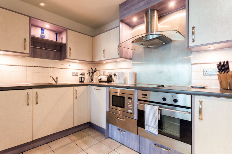 Fully equipped kitchen at St. George Wharf Apartments
