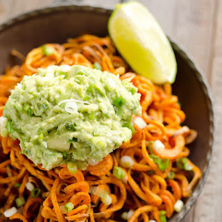 Spicy Roasted Sweet Potato Spirals with Guacamole
