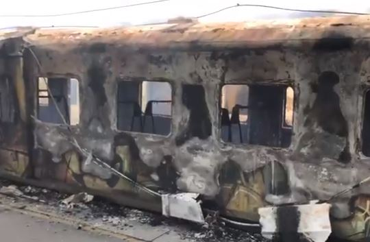 Train on fire in Cape Town on Saturday 21 July 2018.