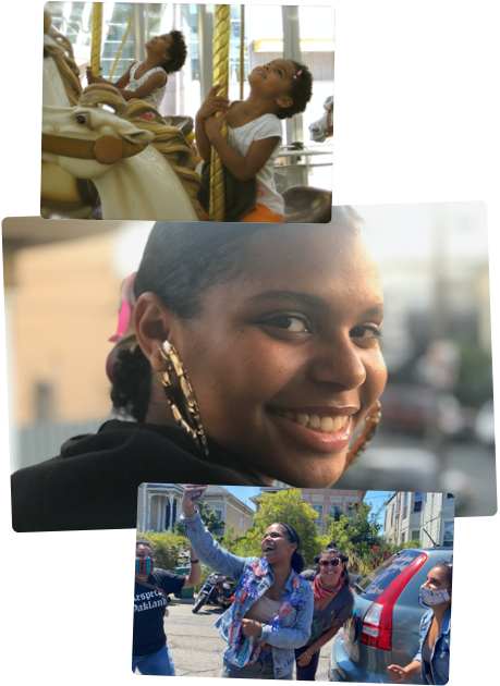 Visual collage featuring Mica growing up. From left to right: Mica and sister, Cami, on a carousel, Mica's mother holding Mica and Cami in her arms, Portrait of Mica smiling, Mica working on a laptop at a kitchen table, Mica and friends celebrating graduation.