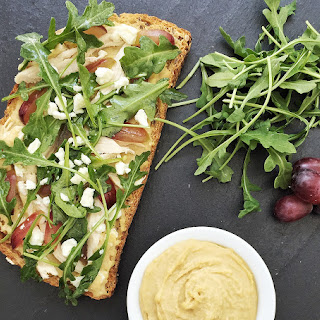 Hummus, Chicken & Grape Tartines