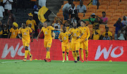 Ryan Moon and team mates celebrating their goal during the Absa Premiership match between Kazier Chiefs and Cape Town City FC at FNB Stadium on February 17, 2018 in Johannesburg.
