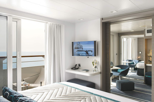 Relax in the comfort of your suite on Le Lyrial, a Ponant luxury ship.
