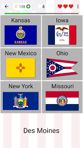 50 US States Map, Capitals & Flags - American Quiz 3.0.0 screenshots 10
