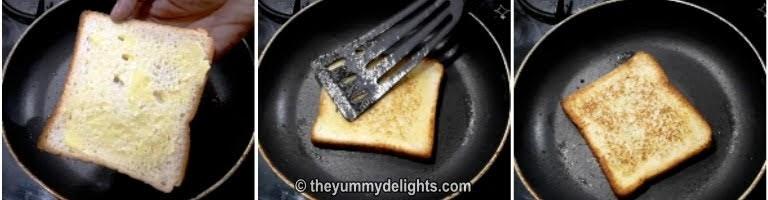 toast the bread slice to prepare veg  sandwich recipe