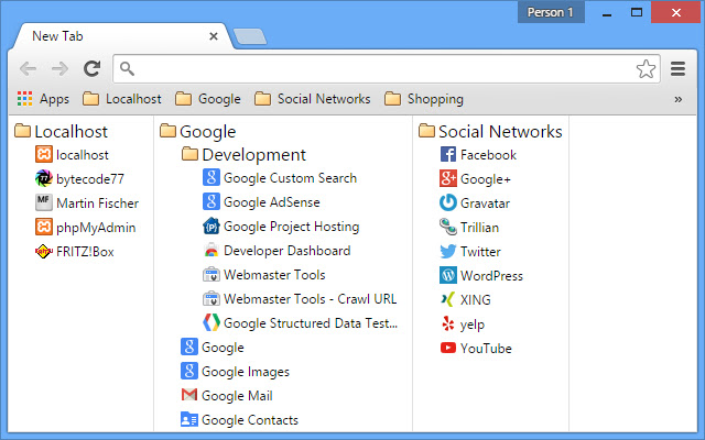 New Tab with Bookmarks