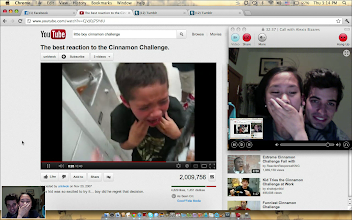 Photo: Keeping in touch with our friends, families and the latest silly Internet thingies. Here, we're Skyping with my cousins who were so kind to share the Cinnamon Challenge with us.