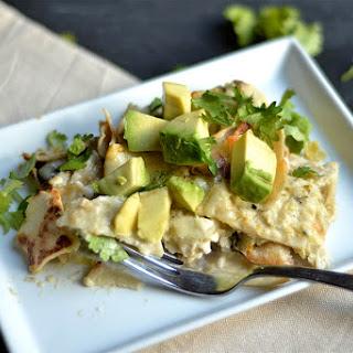 Creamy Salsa Verde Chicken Enchilada Casserole