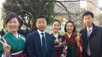 Photo: 卒業式④ 3月24日 相京女子マネージャー、大塚主将、水沼主将、金城副将、竹内副将
