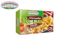 Angebot für Mikrowellen-Pommes extra dick im Supermarkt